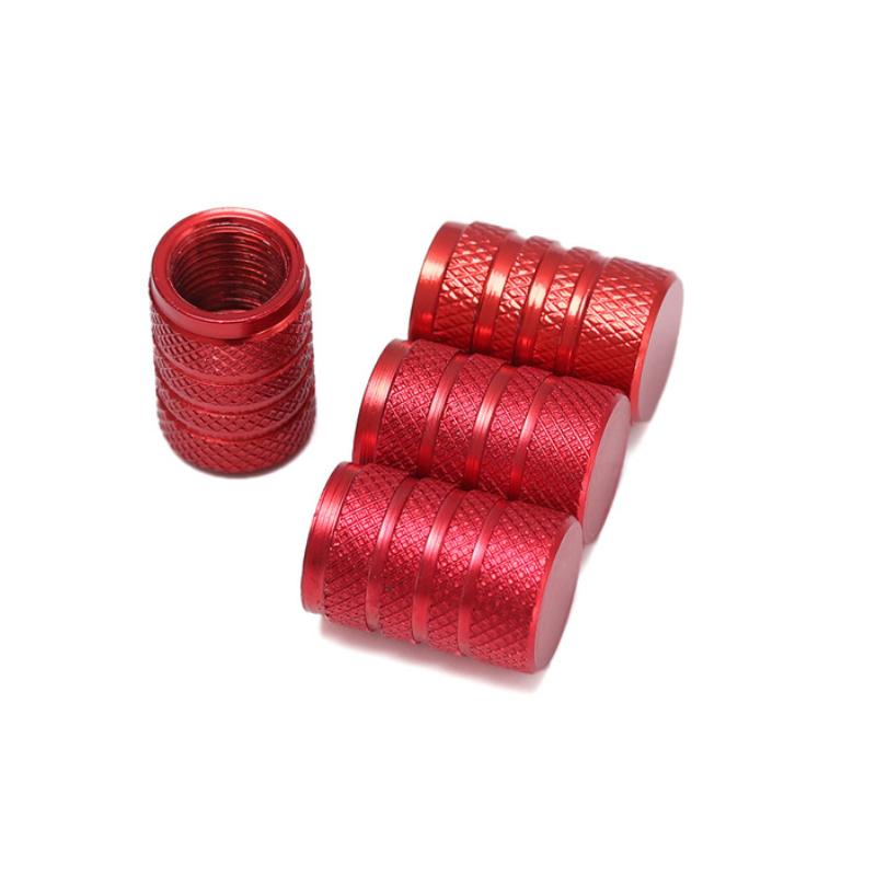 Set de 4 bouchons de valves rouge aluminium CNC