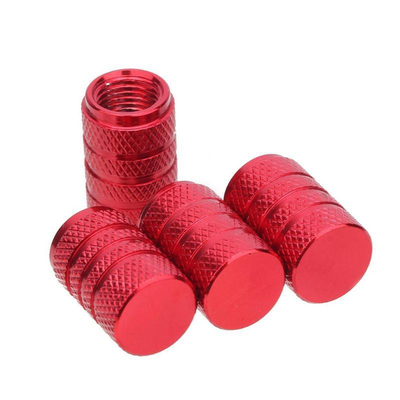 Bouchons de valves rouge aluminium CNC