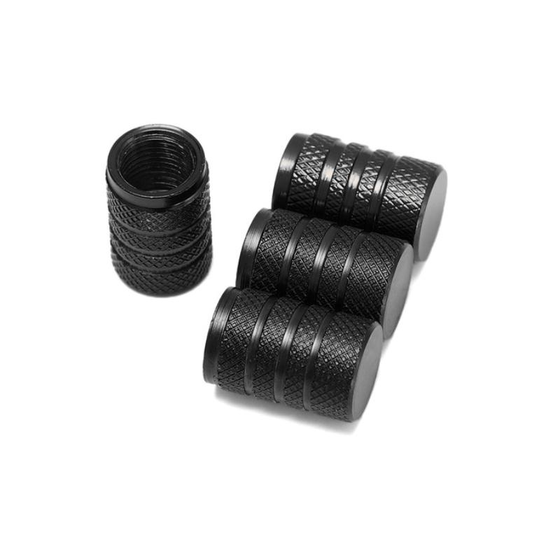 Set de 4 bouchons de valves noir aluminium CNC