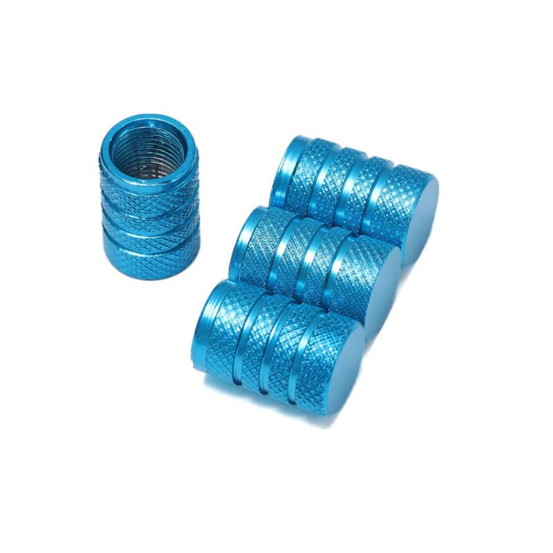 Set de 4 bouchons de valves bleu azur aluminium CNC
