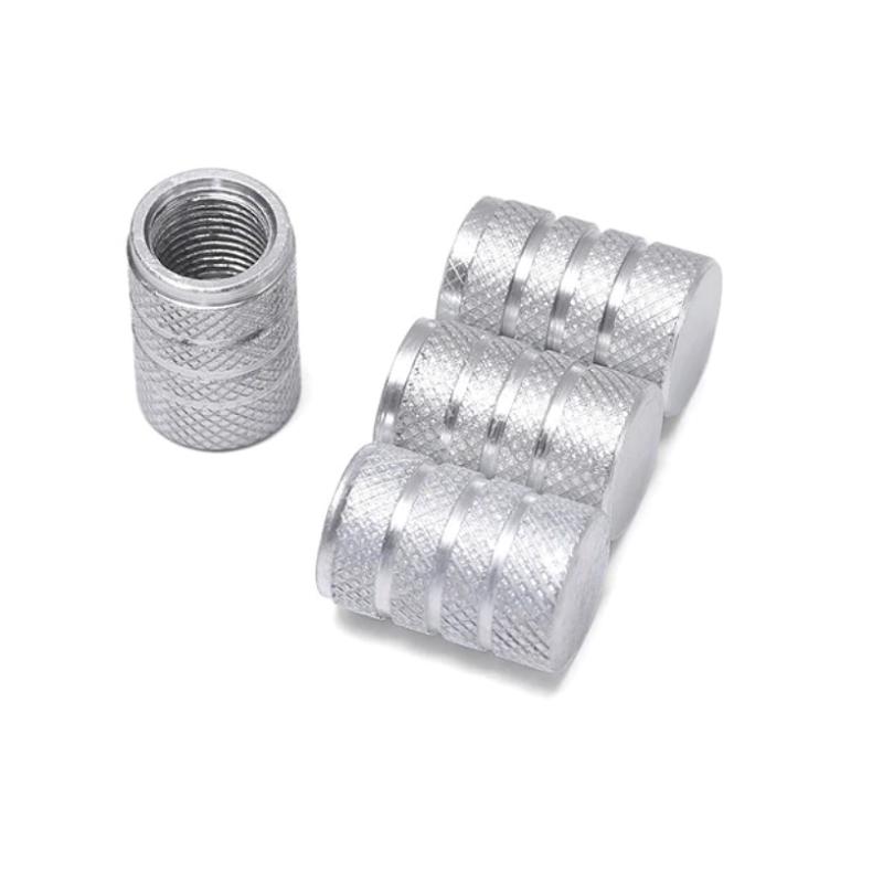 Set de 4 bouchons de valves argent aluminium CNC