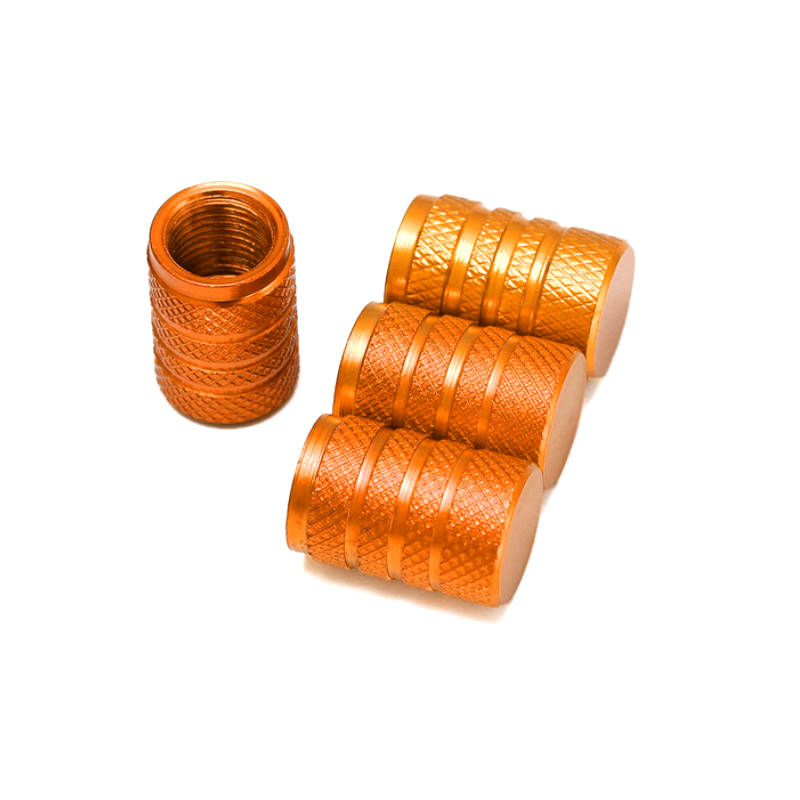Set de 4 bouchons de valves orange aluminium CNC