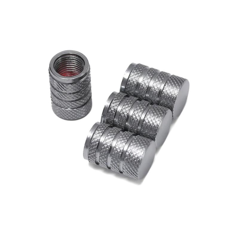Set de 4 bouchons de valves gris aluminium CNC