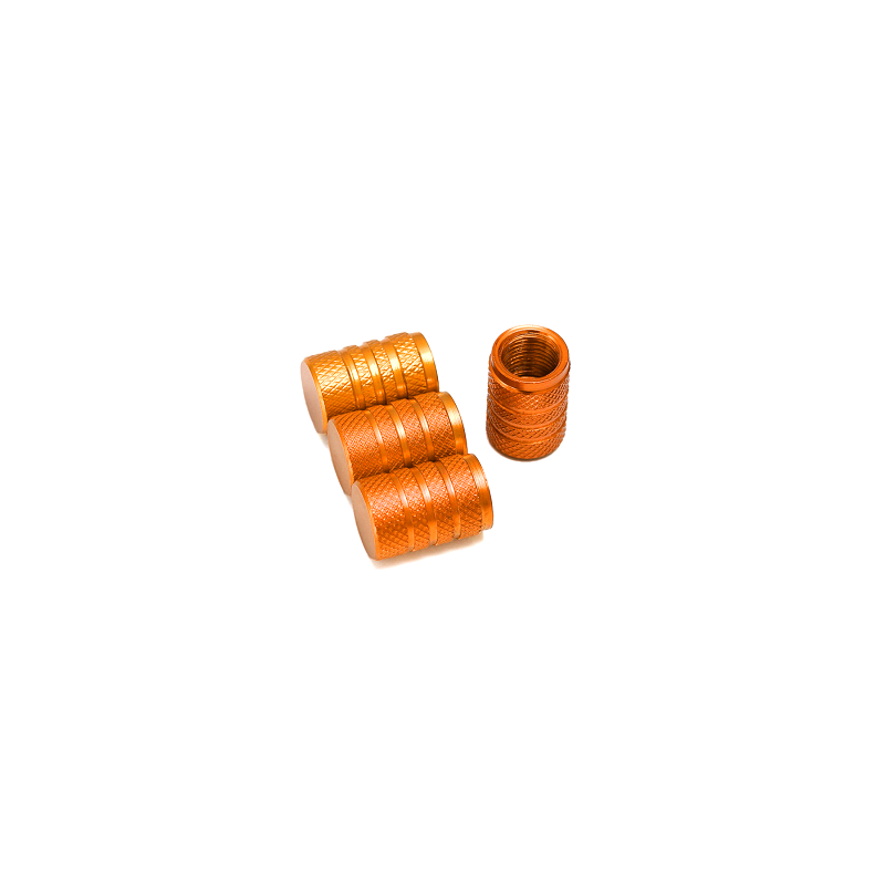 Bouchons de valves orange aluminium CNC