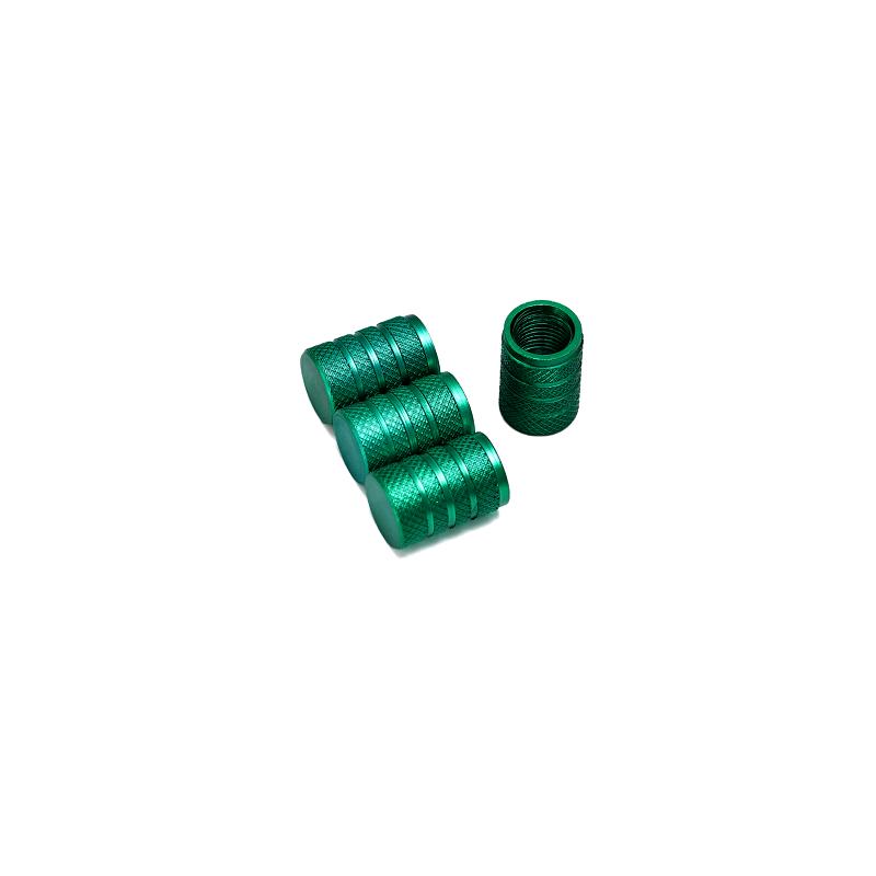 Bouchons de valves vert aluminium CNC