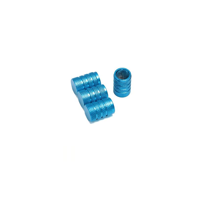 Bouchons de valves bleu azur aluminium CNC