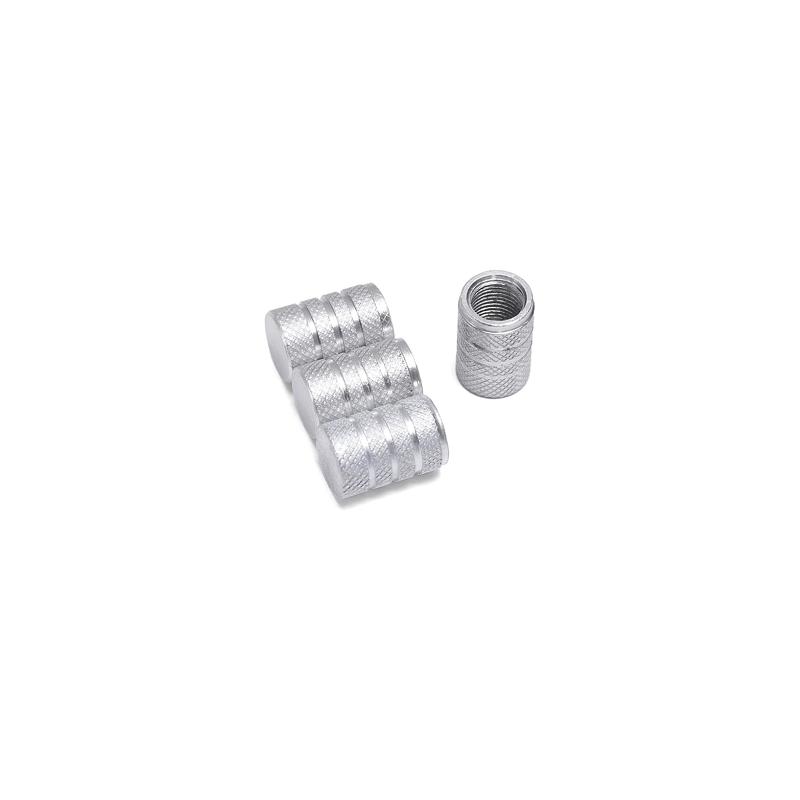 Bouchons de valves argent aluminium CNC